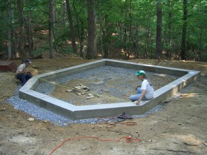 cob house poured concrete stemwall